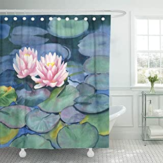 Jszna Shower Curtain Asian Pink Water Lilies Colorful Pads Watercolor Painting Blue Shower Curtains Sets with 12 Hooks 60 x 72 Inches Waterproof Polyester Fabric