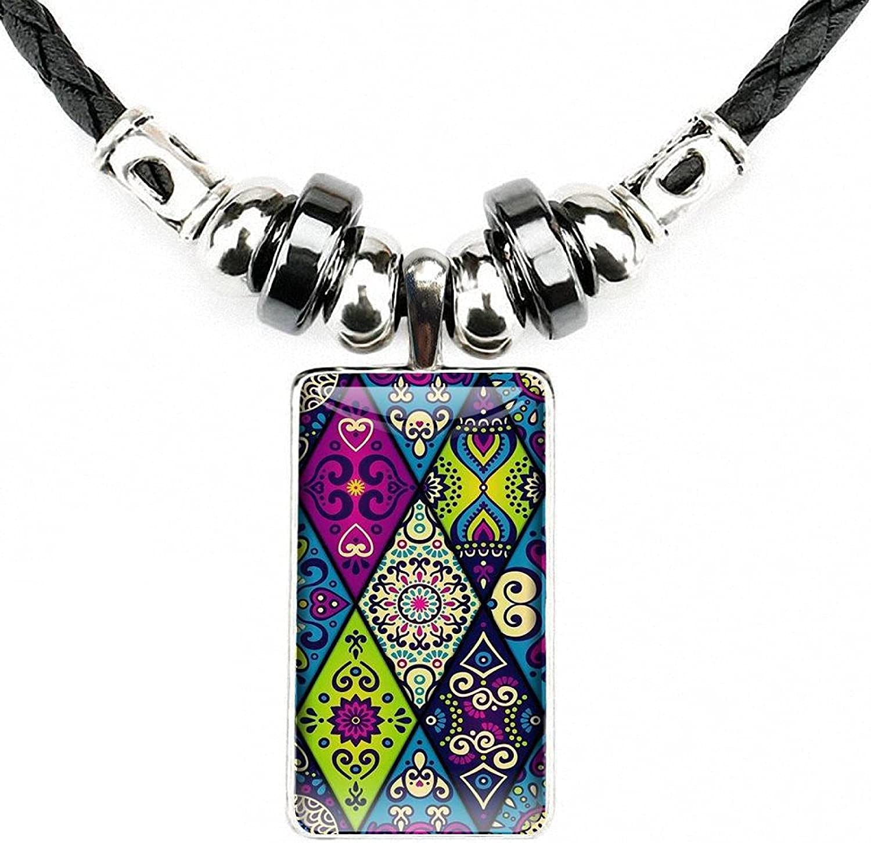 Mandala Flower Fashion Necklace Handmade Rectangle Shape Choker