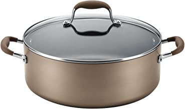 Anolon Advanced Hard Anodized Nonstick Stock Pot/Stockpot with Lid, 7.5 Quart, Brown Umber,84445