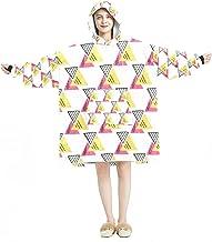 Deken Hoodie, Casual Zachte Microfiber Housecoat, Warm Nachthemd voor Mannen Vrouwen met Driehoek Geometrische Achtergrond...