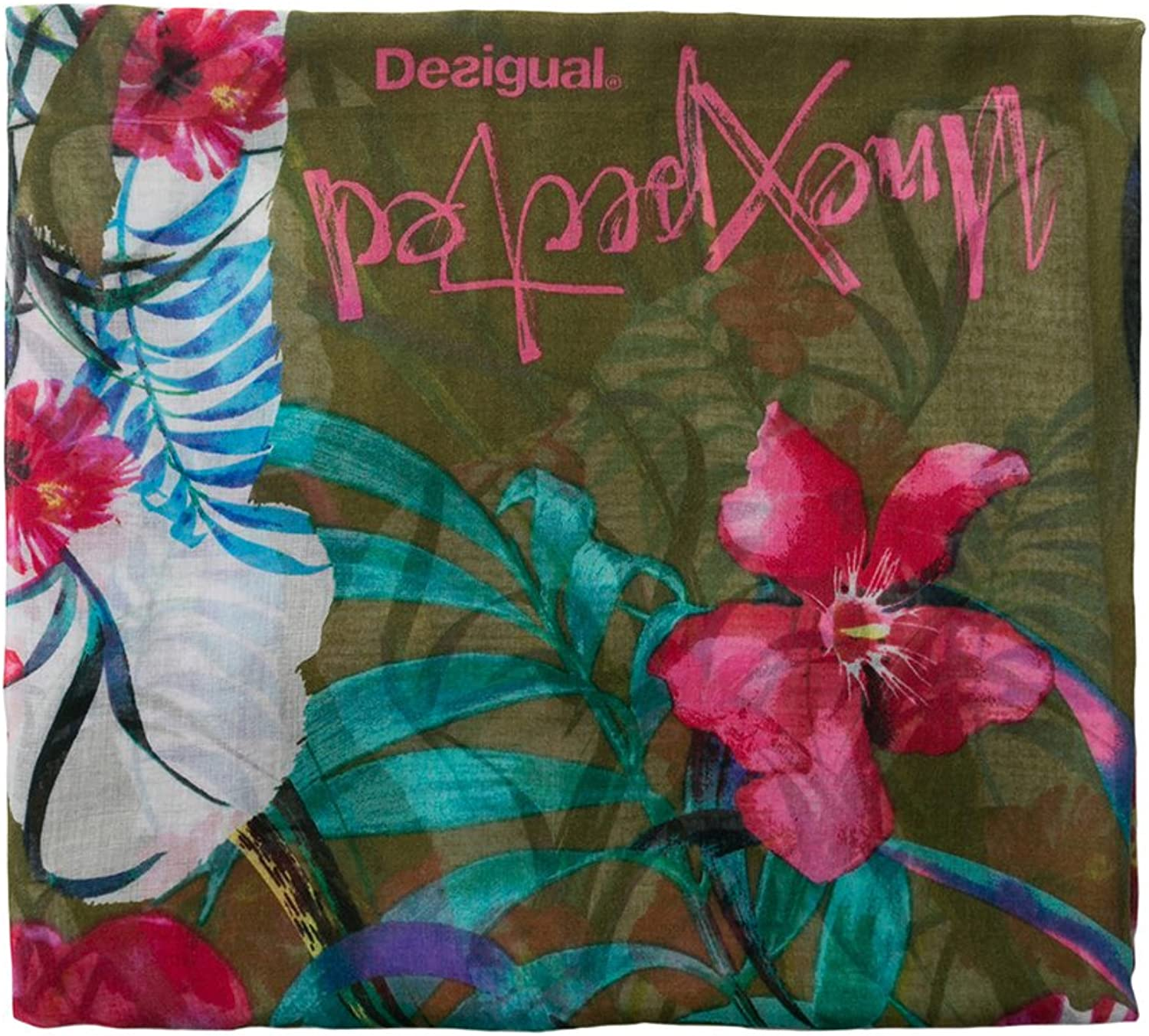 Desigual womens Gardenette Rectangle Flower Print Foulard Scarf Fashion Scarf