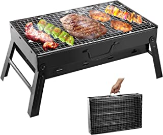 Moclever Folding Portable Barbecue Charcoal Grill, Stainless Steel Small Charcoal Grill, Mini BBQ Tool Kits for Outdoor Co...