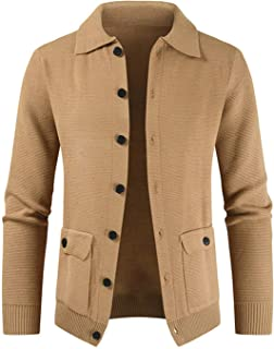 Soluo Men's Shawl Collar Cardigan Sweater Casual Slim fit Stylish Button Cotton Knitted Sweater