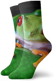N\A, Calcetines de compresión antideslizantes de hoja verde de rana arborícola de ojos rojos, calcetines deportivos acogedores de 11,8 pulgadas para hombres, mujeres y niños