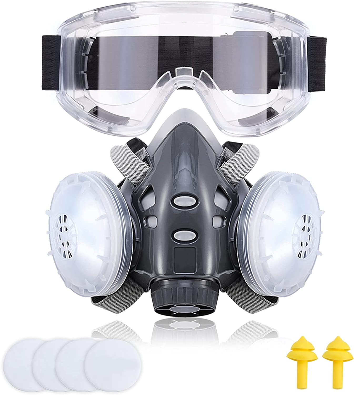 308 Facial Cubierta, Facial Cubierta Antipolvo, Fácil de Respirar, Reutilizable, con Tapones para los Oídos, Gafas Protectoras y 4 Esponjas de Filtro, utilizadas Obras de Construcción, Carpintería