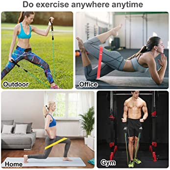 19pcs Resistance Bands Set Workout Bands with 5 Stackable Exercise Bands 5 Resistance Loop Bands, Door Anchor, Ankle ...