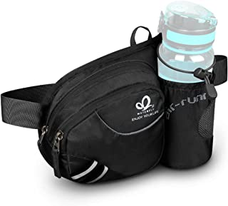 Waterfly Hiking Waist Bag Fanny Pack with Water Bottle Holder for Men Women Running & Dog Walking Can Hold iPhone8 Plus Screen Size 6.5inch
