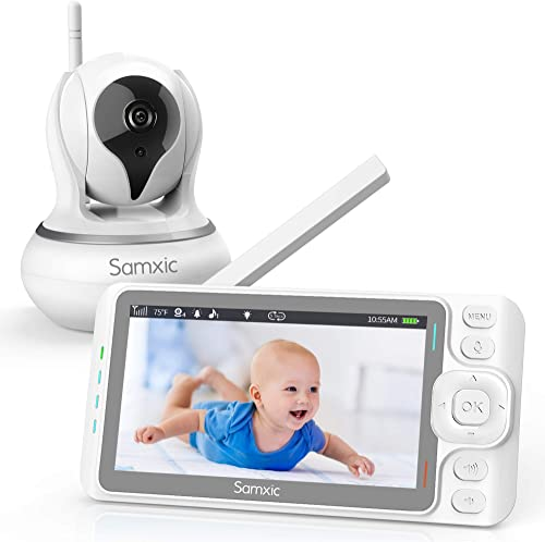 """Baby Monitor with Camera and Audio Samxic 720P 5"""" Inches Display, Crying & Temperature Alert, Two-Way Talk, No Glow Night Vision, Remote Pan & Tilt & Zoom, High Privacy Baby Monitor System product image"""