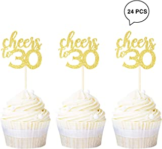 Newqueen 24 Pack Cheers to 30 Cupcake Toppers Gold Glitter Age Thirty 30th Cupcake Picks Anniversary Birthday Party Decoration Supplies