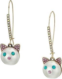 White Pearl Cat Face Drop Earrings