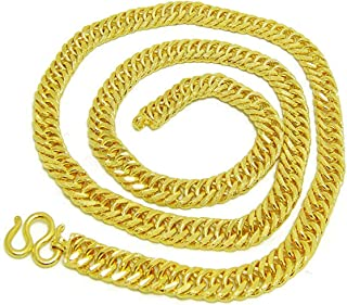 Men's Jewelry Gold 22k 23k 24k 24k Plating Gold Thai Baht Yellow Gold Plated Cuban Link Necklace 28 Inch, 96 Grams, 10 MM Jewelry Men,Women