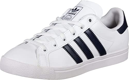 Adidas Originals Coast Star J Blanc Marine Collégiale Cuir Jeunesse Formateurs Chaussures