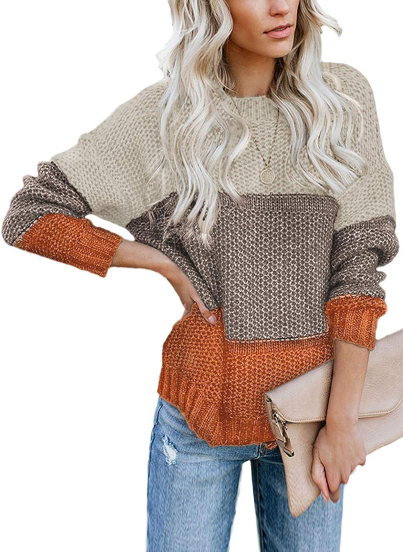 Arainlo Women's Color Block 年末年始大決算 定番スタイル Crew Neck Sweater Long Sleeve Ov Bat