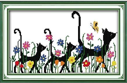 Anself Cross Stitch Set Animals Pattern DIY Embroidery Kit for Home Decor 41 X 28cm