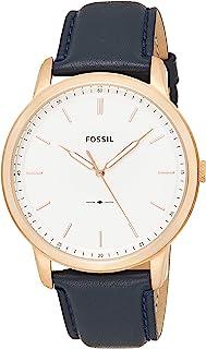 ساعة يد مينيماليست تعمل على الكوارتز مصنوعة من الستانلس ستيل والجلد بمظهر كاجوال للرجال من فوسيل
