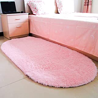moonrug Ultra Soft Fluffy Oval Area Rugs Shaggy Living Room Rug Solid Color Non-Slip Bedroom Bedside Rug Runners 2.7' x 5.3', Pink