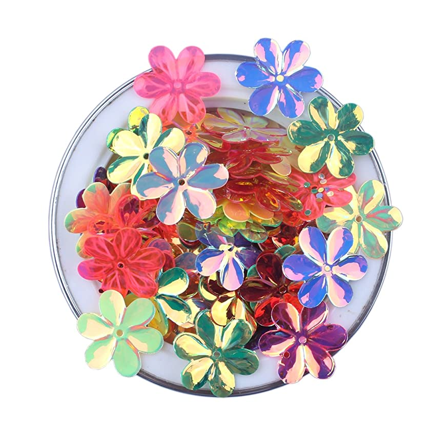 ZIJING 3D Flower Shape Sequins Gold Silver Colors Red Blue Pink Purple Green Loose Sequins for Embroidery, Applique, Knitting, Arts, Crafts, and Embellishment (15mm A Set) cz32537197