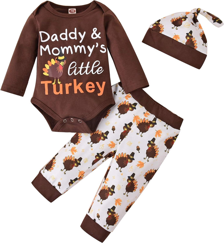 3PCS Newborn Baby Boy Girl Thanksgiving Outfit Long Sleeve Letter Romper Jumpsuit+Cartoon Turkey Pants+Hat Clothes Set