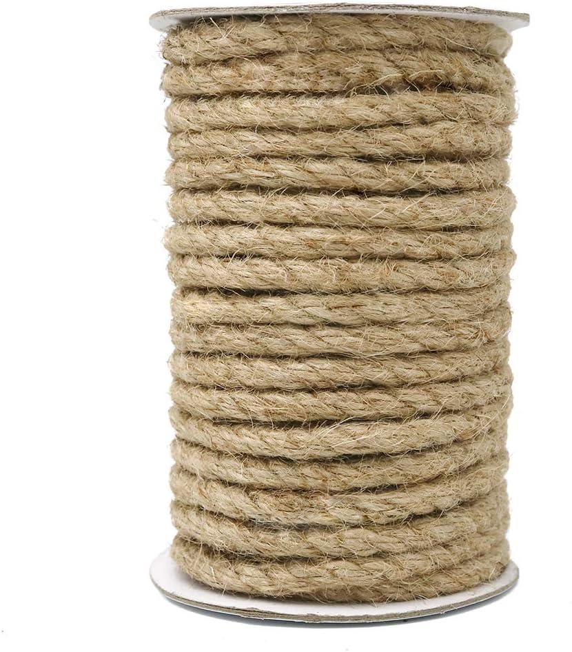 18M Cuerda de Yute Gruesa Cuerda cáñamo 8mm,Natural Rollo de Cordel Yute para Embalaje,Decoración,Jardinería