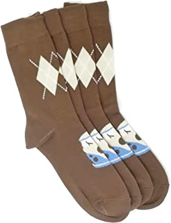 Pack of 2 Pairs Mens Chocolate Camper Van Socks with Argyle Design mens shoe size 6-10