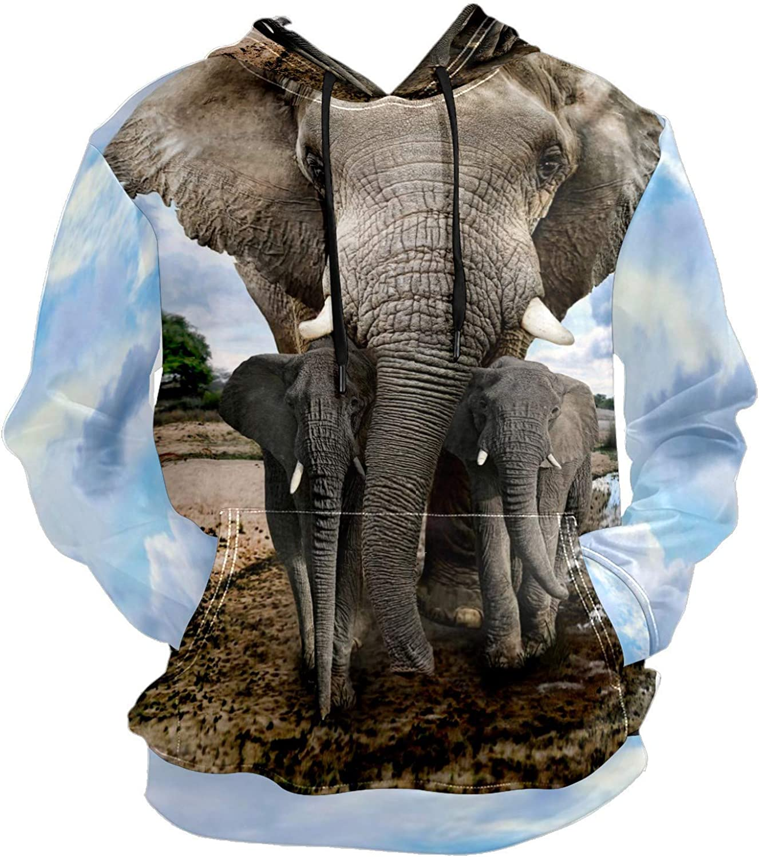 Men's Sport Hoodie Elephant Family Big and Tall Hoodies for Men Women Oversized Hooded Sweatshirt Hip Hop Pullover Hoodie Midweight Hood for Boys Girls