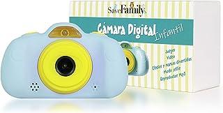 SaveFamilyCam. Cámara de Fotos para Niños. Cámara de vídeo para niños. Cámara Digital SaveFamily Infantil. Gratis Tarjeta SD. Marca española. Incluye Modo Selfie Stickers Juegos y MP3. (Azul)