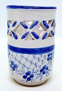Bicchiere Portaspazzolini Linea Grillage Blu Ceramica Realizzato e Dipinto a mano da Le Ceramiche del Castello Nina Palomb...