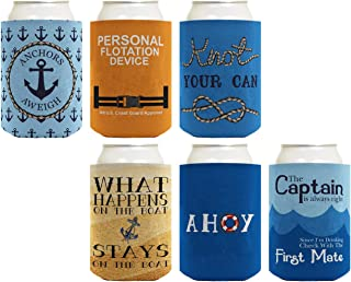 Boat Gifts Beer Coolie Nautical Gift Set Cruise Gifts 6-pack Can Coolie Drink Coolers Coolies Multi