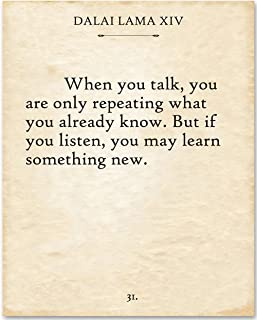Dalai Lama - When You Talk - 11x14 Unframed Typography Art Print - Makes a Great Gift Under $15 for Literature Lovers