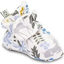 Owluxe Organic Cotton Baby Girl Booties Crib Shoes with Kick Proof, Newborn, 3-6 Months, Woodland Deer Flower, Blue