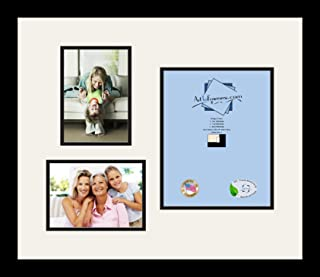 Art to Frames Double-Multimat-1127-61/89-FRBW26079 Collage Photo Frame Double Mat with 1-8x10 and 2-5x7 Openings and Satin Black Frame