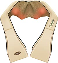 Naipo Neck Shoulder Back Shiatsu Kneading Massager with Heat - Deep Tissue 3D Electric Massage Pillow for Full Body, Office, Home, Car Beige