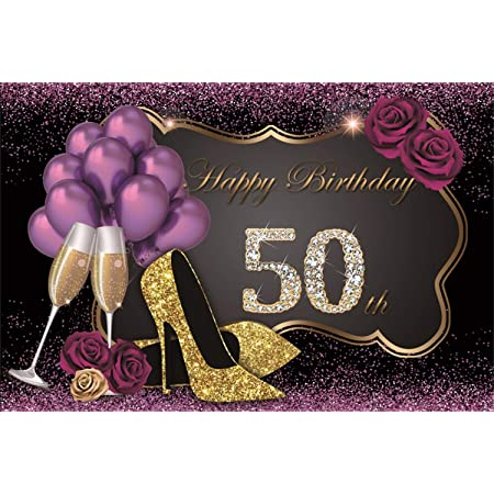 Fifty and Fabulous Backdrop Decoration Custom Printed Vinyl Backdrop #56 50th Birthday Backdrop Purple and Silver Party Silver Decor