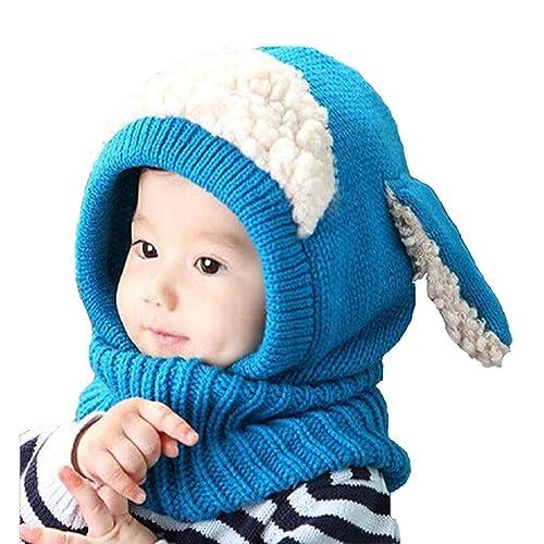 8129ee7b9ab Panlom® Winter Baby Kids Girls Boys Warm Woolen Coif Hood Scarf Caps Hats