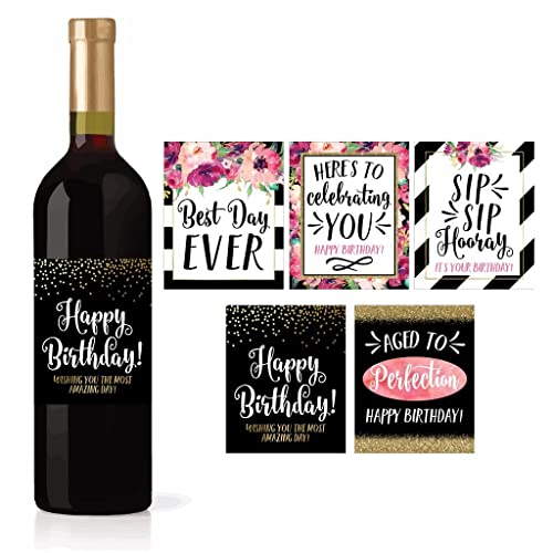 5 Birthday Wine Bottle Labels Or Stickers Present Bday Milestone Gifts For Her Women