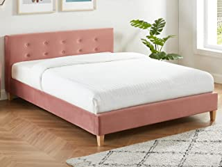 HOMIFAB Lit Adulte avec tête de lit capitonnée en Velours Rose Blush - sommier à Lattes 140x190cm - Collection Milo