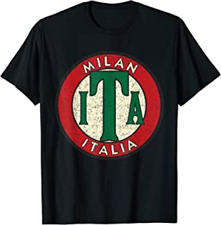 Milan Italia Vintage Road Sign Distressed Print T-Shirt
