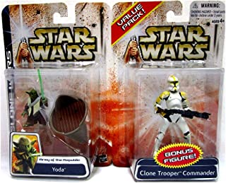 Star Wars Clone Wars Value Pack Including Yoda and Yellow Clone Trooper Commander - Rare Collectible