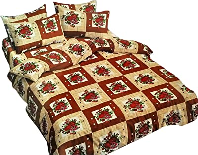 LC Cotton Double Bedsheet with 2 Pillow Covers (230X250 Cms_Brown&Red)