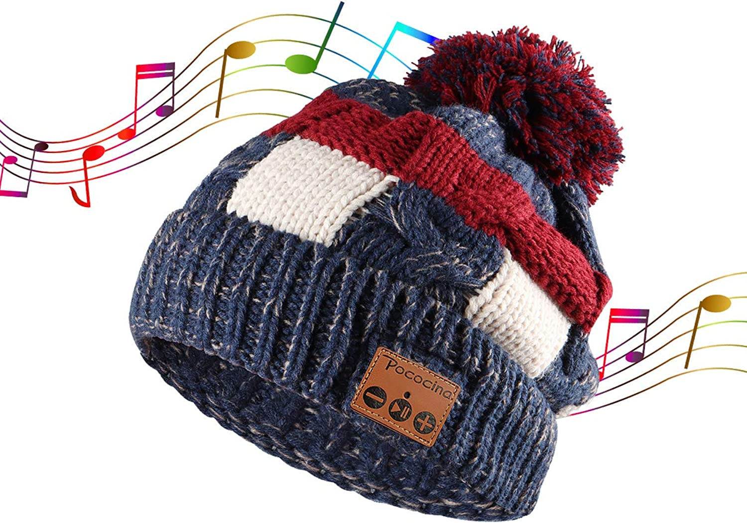 bluetooth Beanie for Women Wireless Music Slouchy Double Layer Warm Plush Velvet Inner Winter Knit Hat