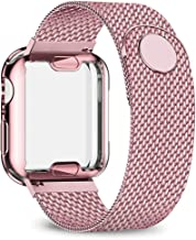 jwacct Stainless Steel Bands Compatible with Apple Watch Band 38mm 40mm 42mm 44mm - with Full Screen Protector for iWatch Series 5/4/3/2/1 - Adjustable Metal Magnetic Strap in 8 Classy Colors