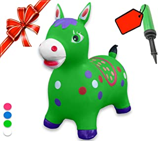 Bouncy Horse - ECO-Friendly - Animal Bouncing Hopper Toy, Inflatable Ride on Jumping Bouncer for Kids (Green)