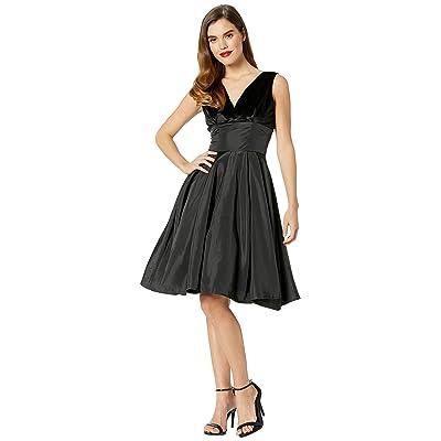 Unique Vintage 1950s Style Velvet Taffeta Evie Swing Dress (Black) Women