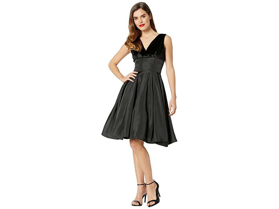 Unique Vintage 1950s Style Velvet Taffeta Evie Swing Dress (Black) Women