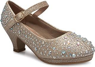 OLIVIA K Women's Round Toe Rhinestone Glitter Sparkle Ankle T-Strap Ballet Flat Sandal