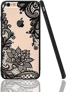 iPhone 6 Plus Case,iPhone 6s Plus Case,HUIYCUU Totem Henna Lace Flower Slim Fit Case Soft Bumper Border Matte Hard Back Cover Girls Paisley Datura Design for iPhone 6 / 6S Plus 5.5 inch,Black Mandala