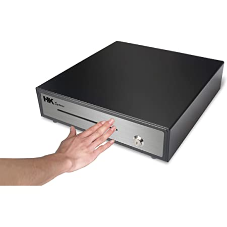 """HK SYSTEMS 16"""" Heavy Duty Black Manual Push Open Cash Drawer with 5Bill/5Coin Stainless Steel"""