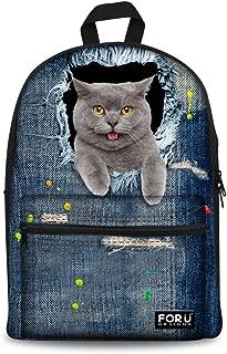 Canvas School Backpack for Teenagers Girls Cat School Book Bag Women Big Student