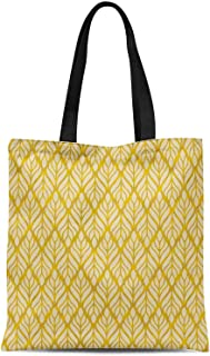 S4Sassy Orange Monstera Leaves Printed Canvas Large Tote Bag for Beach Shopping Groceries Books 16x12 Inches