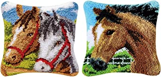 Prettyia 2 Sets Decorative Animals Horses Latch Hook Kits for Beginners, DIY Embroidery Pillow Case Cushion Cover Yarn Embroidery Carpet Set, 43x43cm